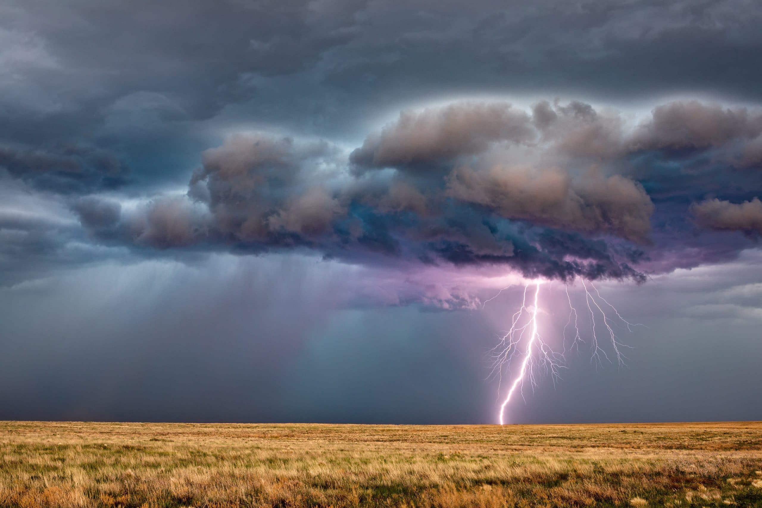 large lightning bolt striking open field