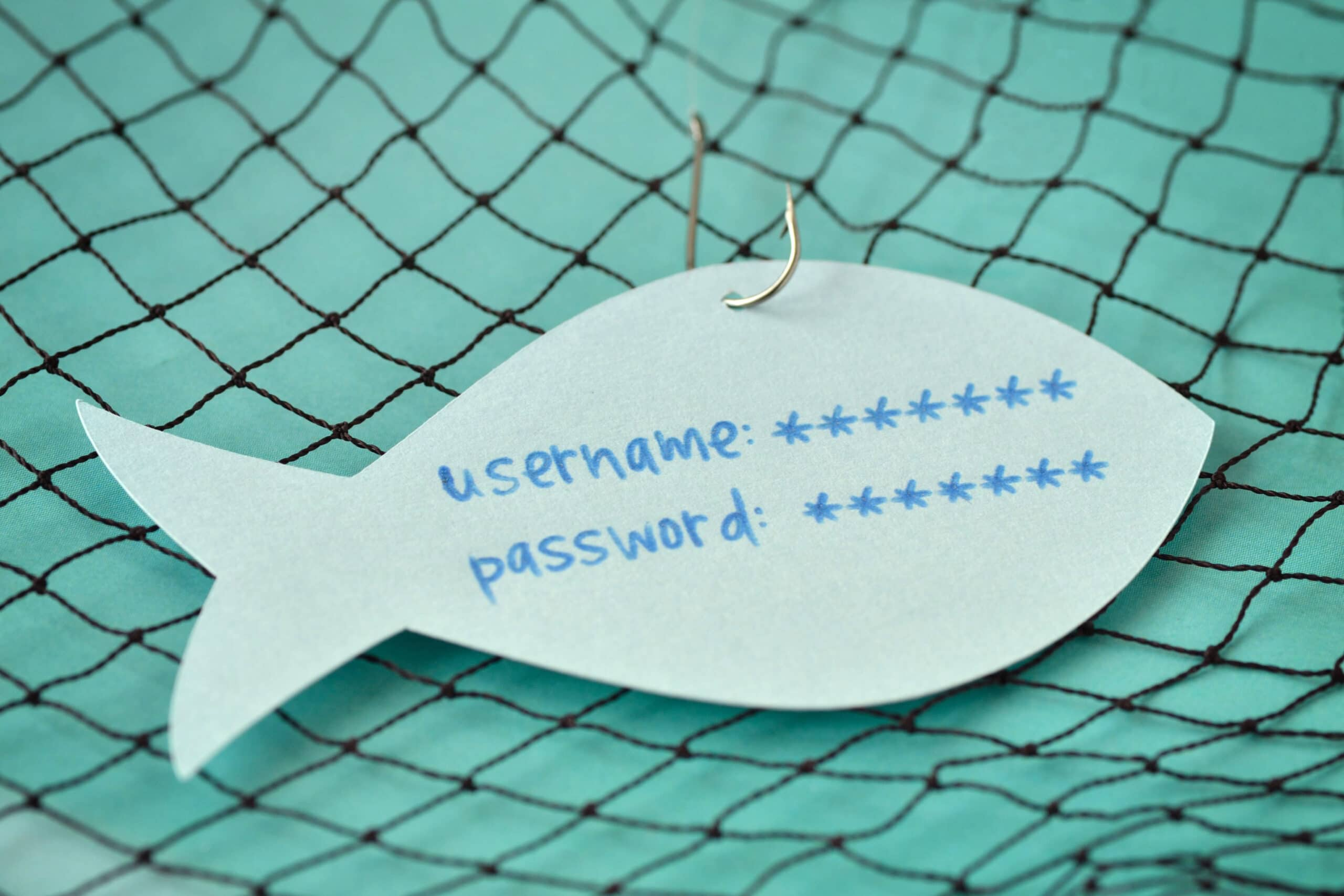 paper cut out of fish with name and password prompts with metal fishing hook through the top against fish net background